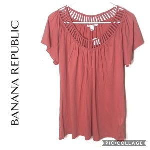 Banana Republic Pink Open Slit Neck Top NWT